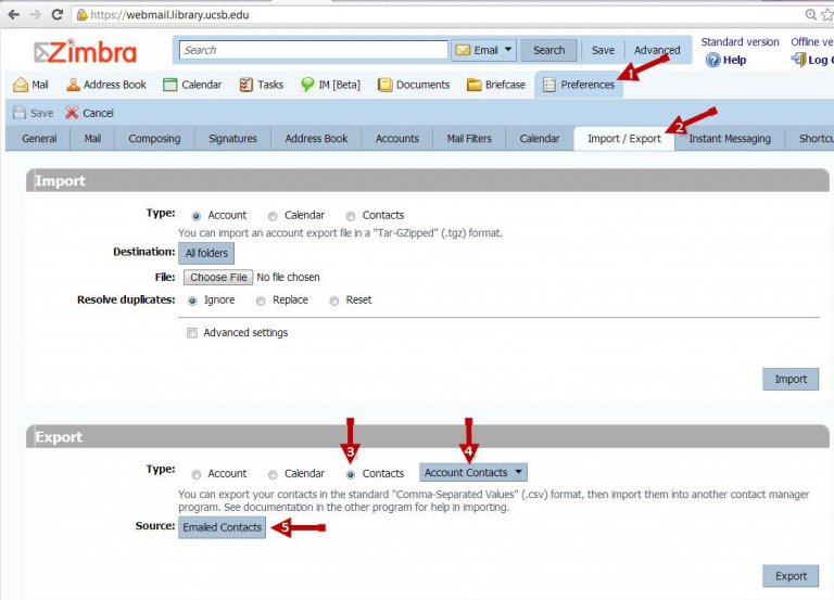 how to migrate contacts from zimbra webmail