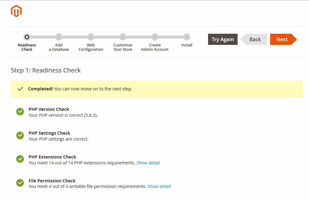 check readiness Install Magento 2