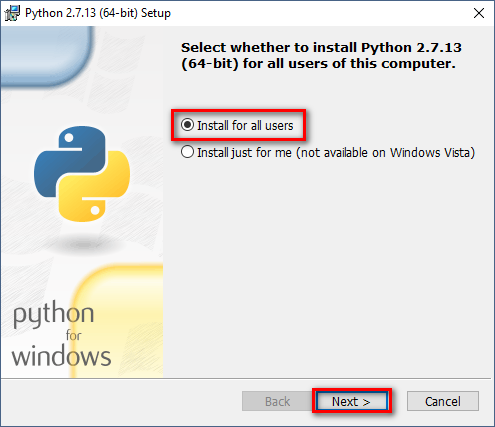 Installing Python Setup Wizard