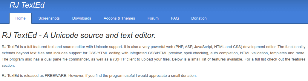 rjtext ed IDE for PHP