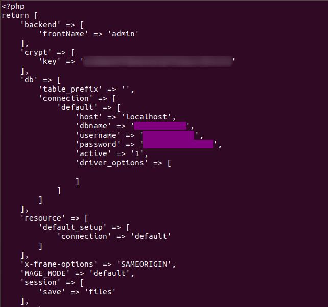 Magento Database Configuration File