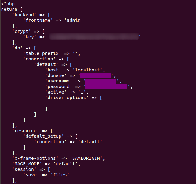 Magento 2 Db Config File
