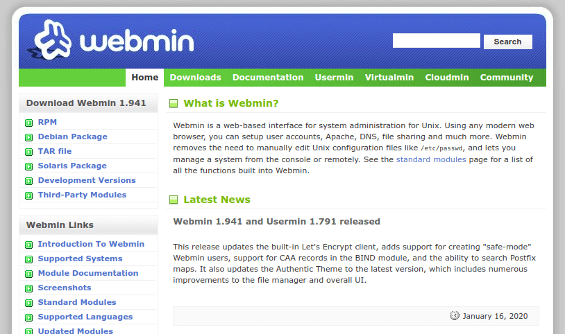 Webmin Plesk Alternative Free Open-source Web Hosting Panel