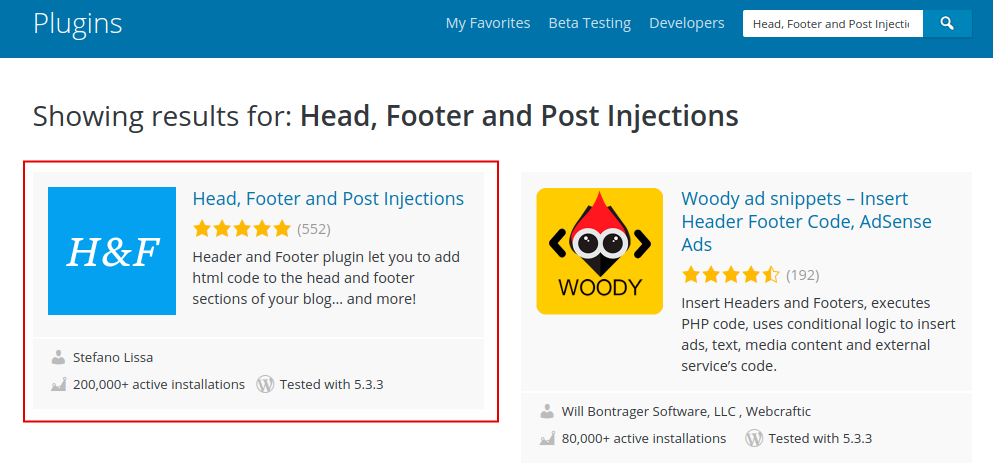 Header, Footer and Post Injections Plugin