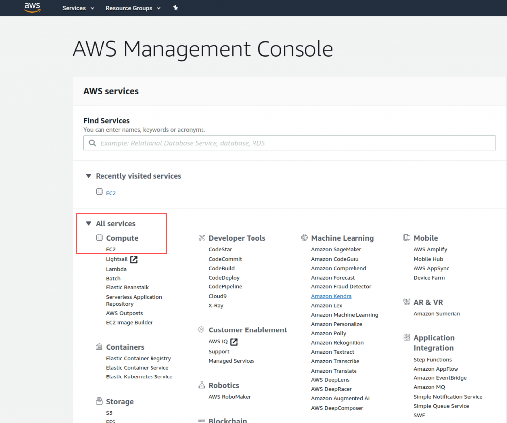select ec2 in management console