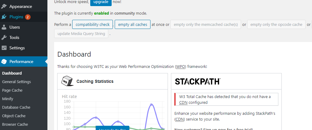 CLear WordPress Cache with w3 Super Cache