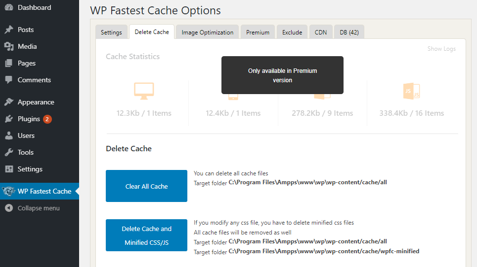 Clear WordPress Cache with Wp Fastest