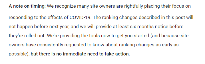 google timing core core web vitals