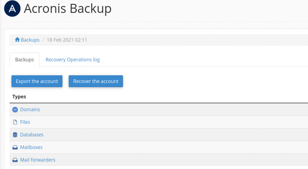 Recover Download and Backup Data using Acronis Backup Module 4 restore backup data