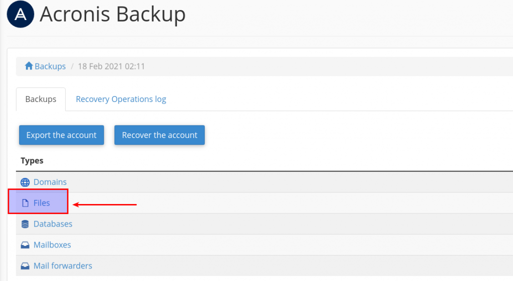 download files from backups