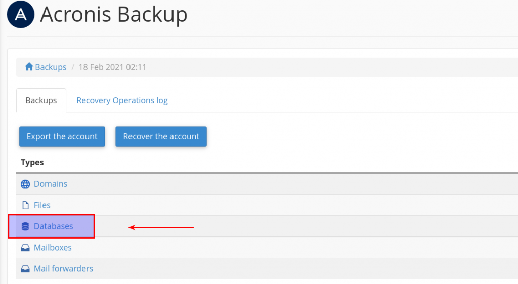 download databases from backups