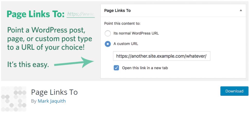 Page Links To 301 redirect wordpress